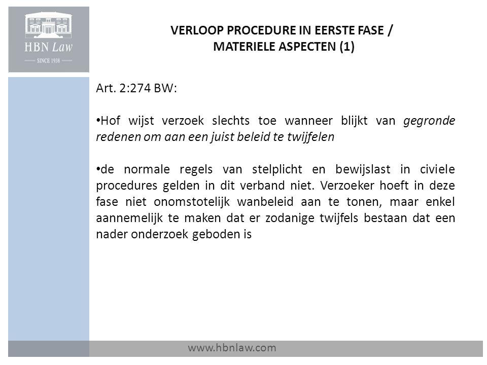 VERLOOP PROCEDURE IN EERSTE FASE / MATERIELE ASPECTEN (1) www.hbnlaw.com Art.