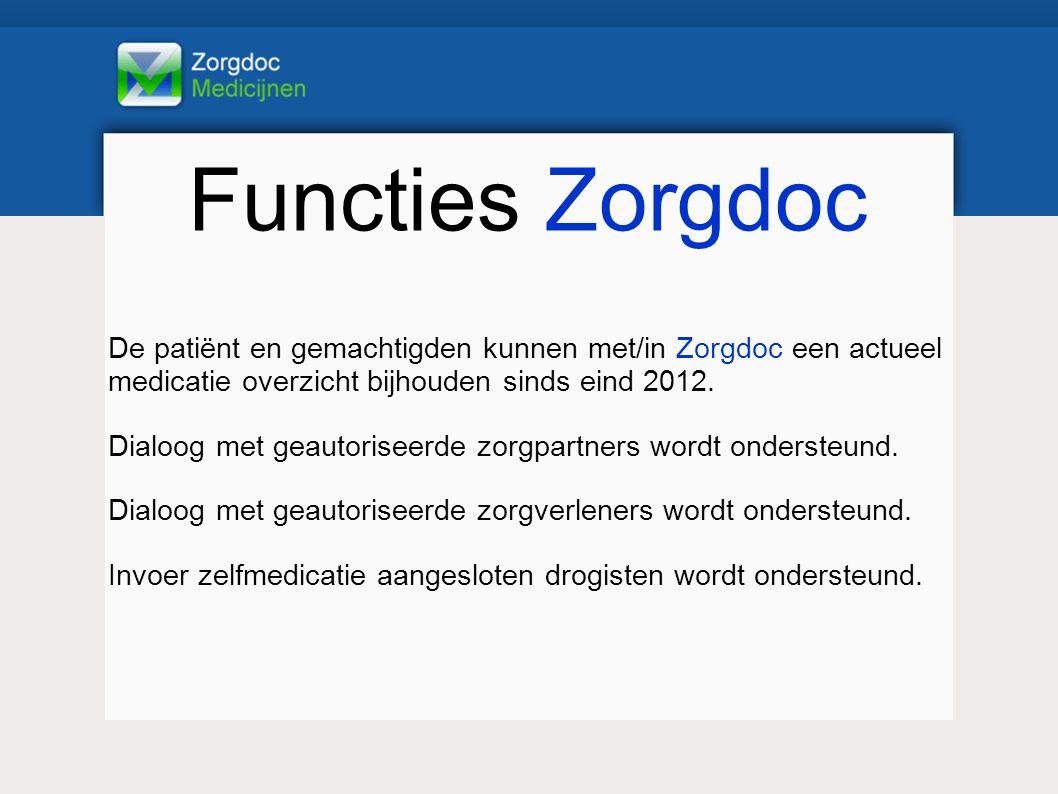 Functies Zorgdoc De patiënt en gemachtigden kunnen met/in Zorgdoc een actueel medicatie overzicht bijhouden sinds eind 2012.