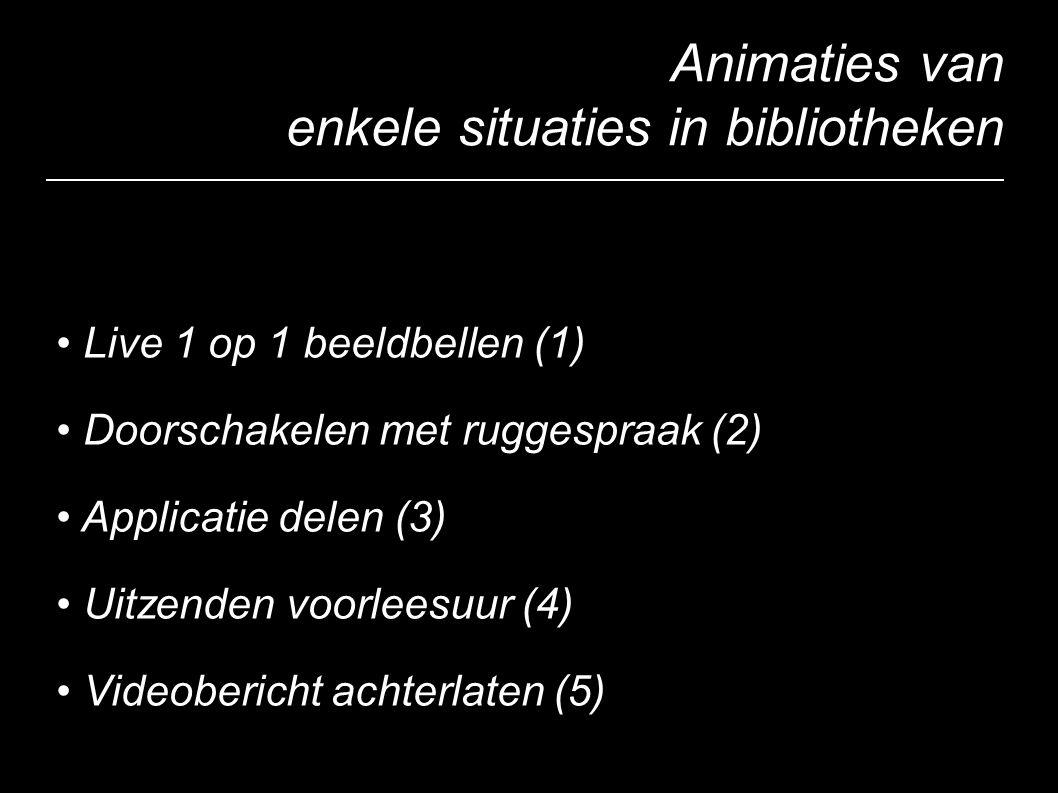 Animaties van enkele situaties in bibliotheken Live 1 op 1 beeldbellen (1) Doorschakelen met ruggespraak (2) Applicatie delen (3) Uitzenden voorleesuur (4) Videobericht achterlaten (5)
