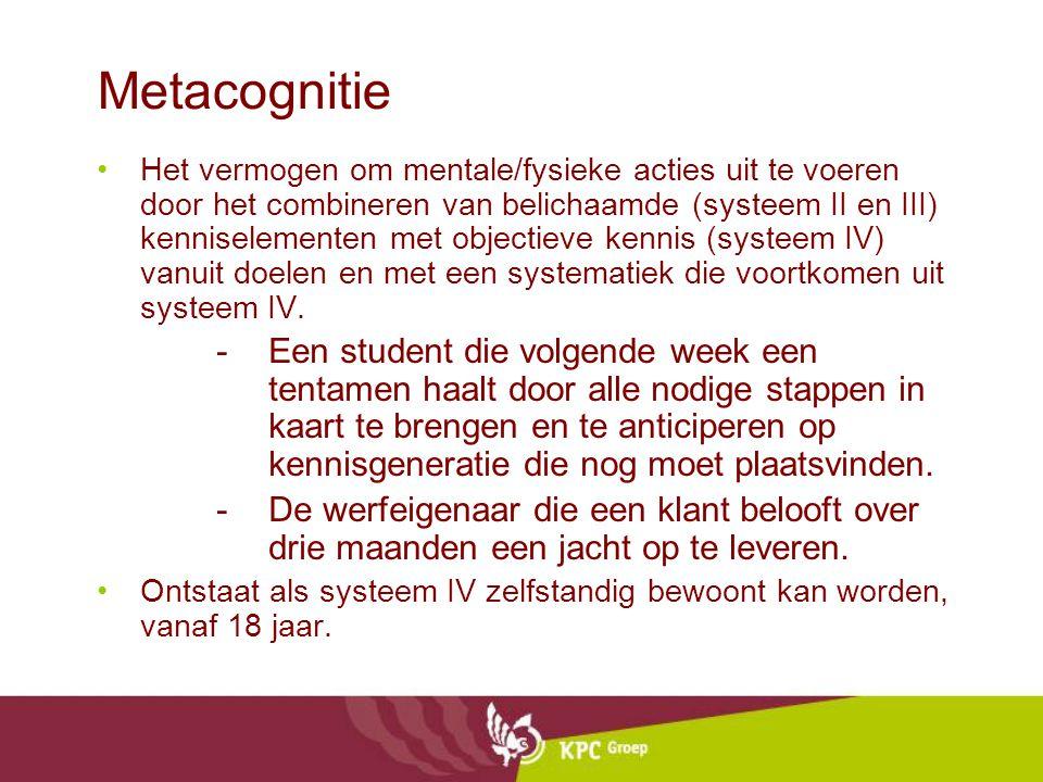 Metacognitie Het vermogen om mentale/fysieke acties uit te voeren door het combineren van belichaamde (systeem II en III) kenniselementen met objectieve kennis (systeem IV) vanuit doelen en met een systematiek die voortkomen uit systeem IV.