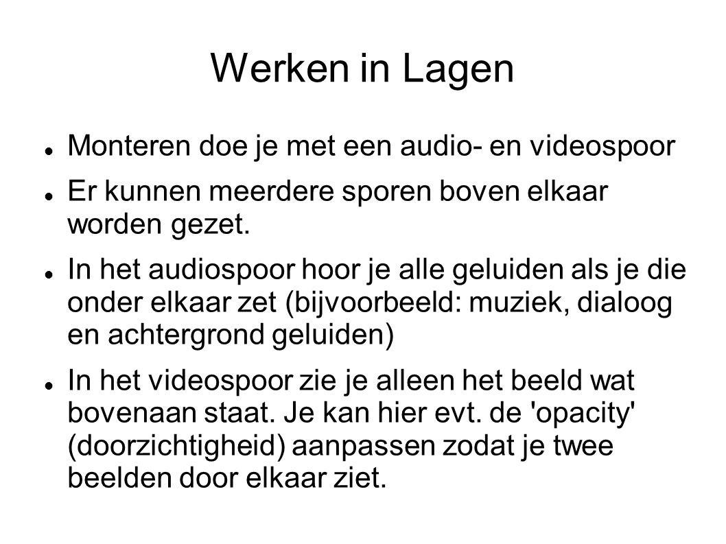 Werken in Lagen Monteren doe je met een audio- en videospoor Er kunnen meerdere sporen boven elkaar worden gezet.