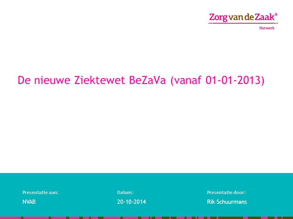 Presentatie aan:Datum:Presentatie door: NVAB20-10-2014Rik Schuurmans De nieuwe Ziektewet BeZaVa (vanaf 01-01-2013)