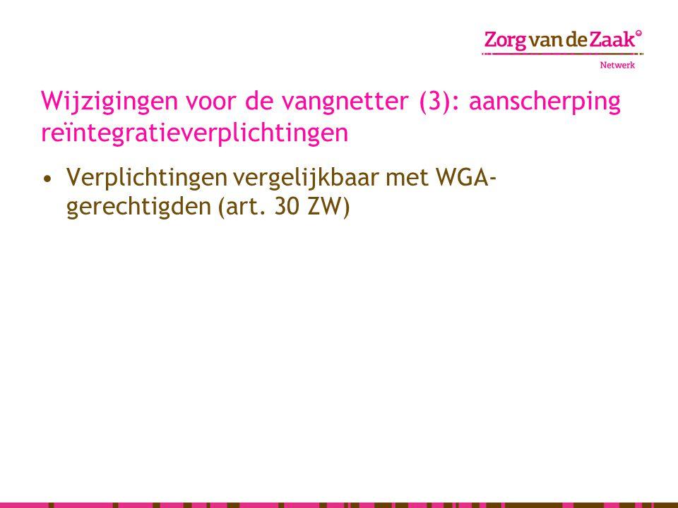 Wijzigingen voor de vangnetter (3): aanscherping reïntegratieverplichtingen Verplichtingen vergelijkbaar met WGA- gerechtigden (art. 30 ZW)