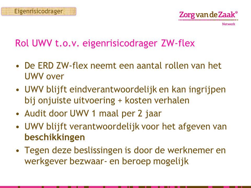 Rol UWV t.o.v. eigenrisicodrager ZW-flex De ERD ZW-flex neemt een aantal rollen van het UWV over UWV blijft eindverantwoordelijk en kan ingrijpen bij
