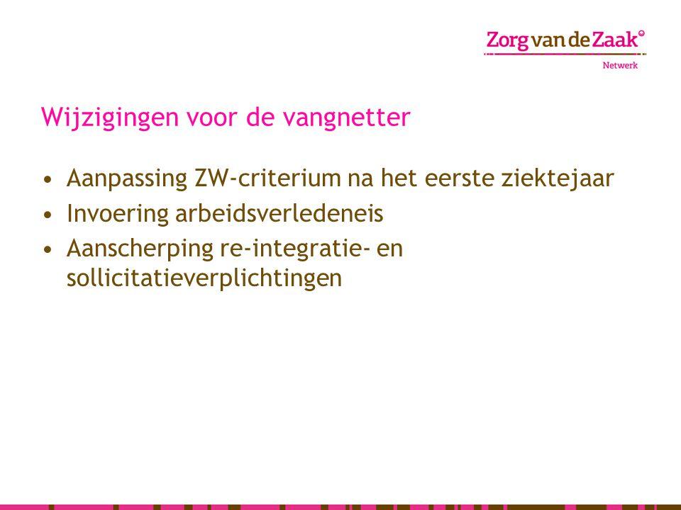 Wijzigingen voor de vangnetter Aanpassing ZW-criterium na het eerste ziektejaar Invoering arbeidsverledeneis Aanscherping re-integratie- en sollicitat