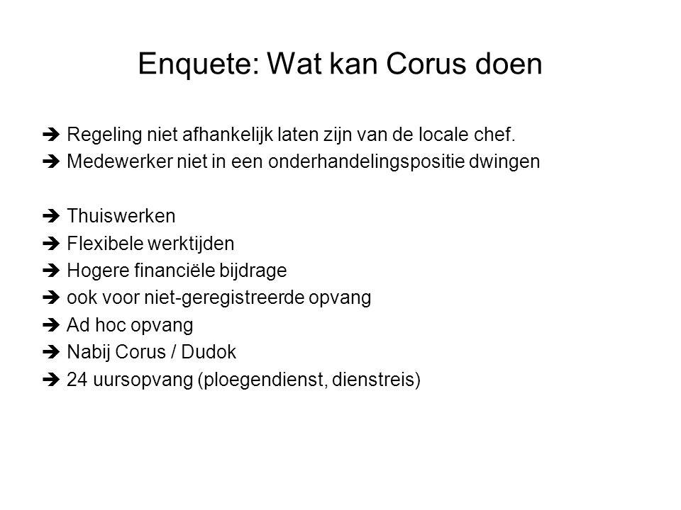 Enquete: Wat kan Corus doen  Regeling niet afhankelijk laten zijn van de locale chef.  Medewerker niet in een onderhandelingspositie dwingen  Thuis