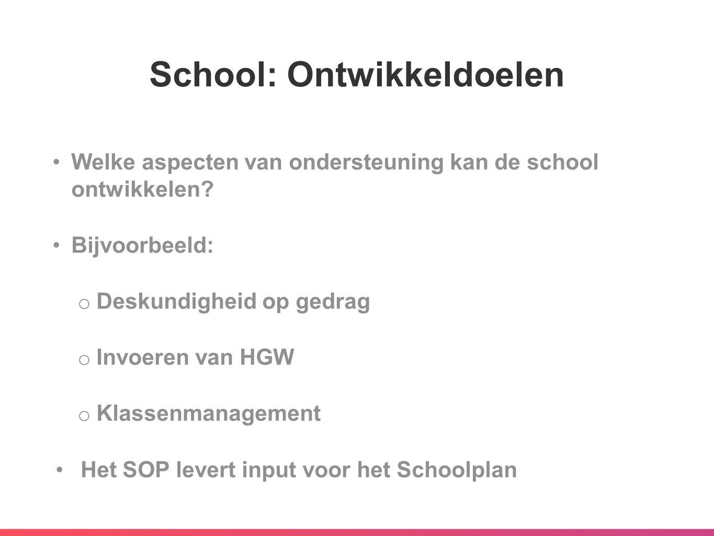 School: Ontwikkeldoelen Welke aspecten van ondersteuning kan de school ontwikkelen? Bijvoorbeeld: o Deskundigheid op gedrag o Invoeren van HGW o Klass