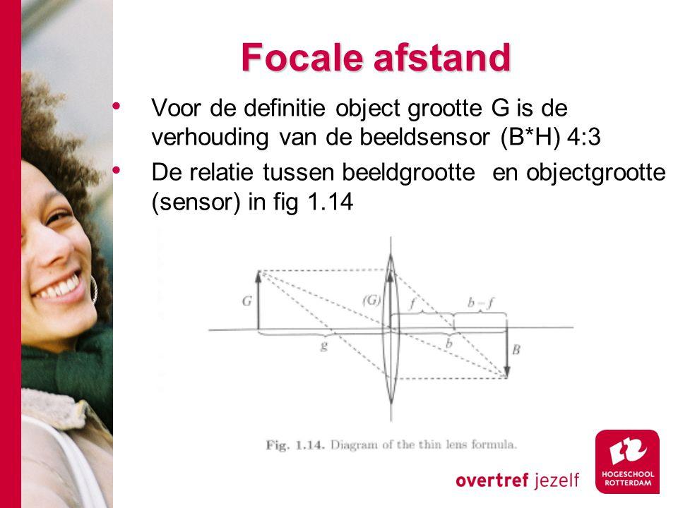 # Focale afstand Voor de definitie object grootte G is de verhouding van de beeldsensor (B*H) 4:3 De relatie tussen beeldgrootte en objectgrootte (sensor) in fig 1.14