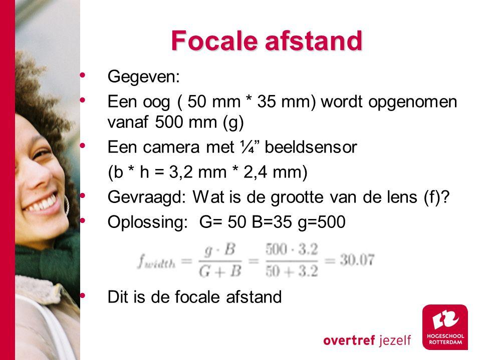 # Focale afstand Gegeven: Een oog ( 50 mm * 35 mm) wordt opgenomen vanaf 500 mm (g) Een camera met ¼ beeldsensor (b * h = 3,2 mm * 2,4 mm) Gevraagd: Wat is de grootte van de lens (f).