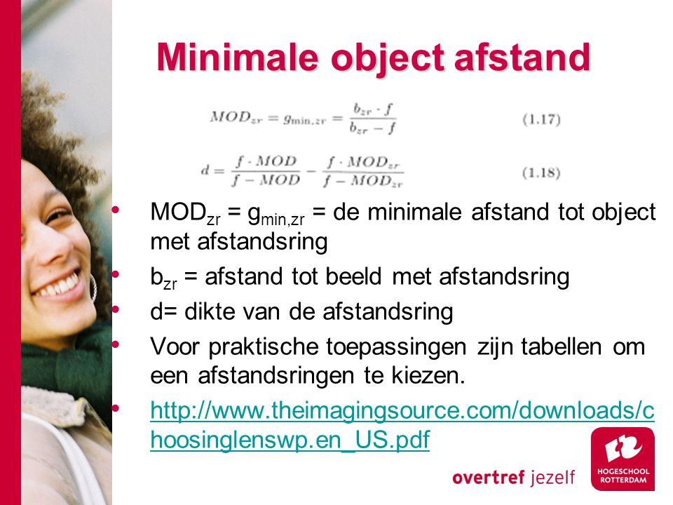 # Minimale object afstand MOD zr = g min,zr = de minimale afstand tot object met afstandsring b zr = afstand tot beeld met afstandsring d= dikte van de afstandsring Voor praktische toepassingen zijn tabellen om een afstandsringen te kiezen.