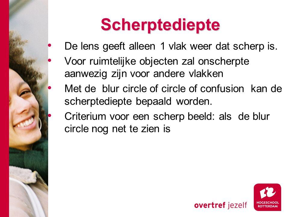 # Scherptediepte De lens geeft alleen 1 vlak weer dat scherp is.