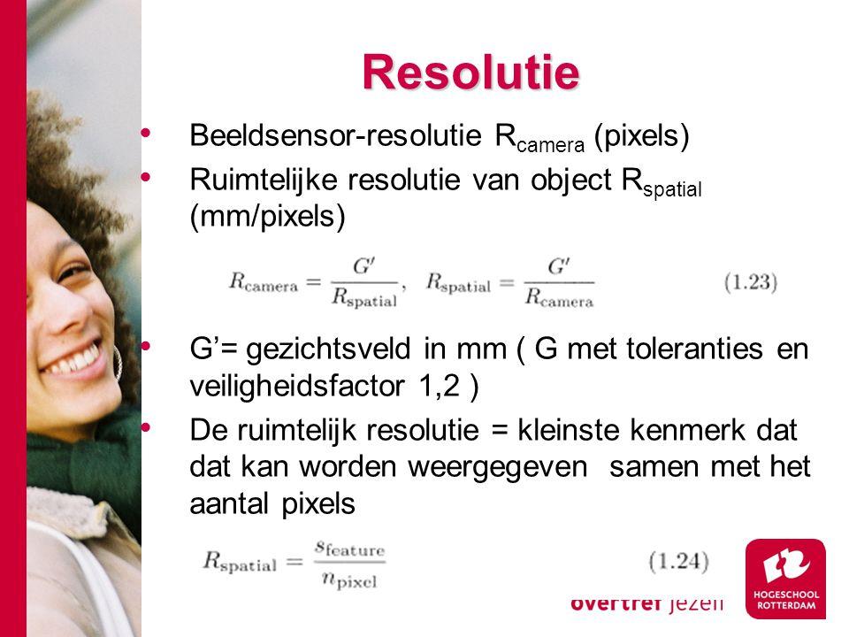 # Resolutie Beeldsensor-resolutie R camera (pixels) Ruimtelijke resolutie van object R spatial (mm/pixels) G'= gezichtsveld in mm ( G met toleranties en veiligheidsfactor 1,2 ) De ruimtelijk resolutie = kleinste kenmerk dat dat kan worden weergegeven samen met het aantal pixels