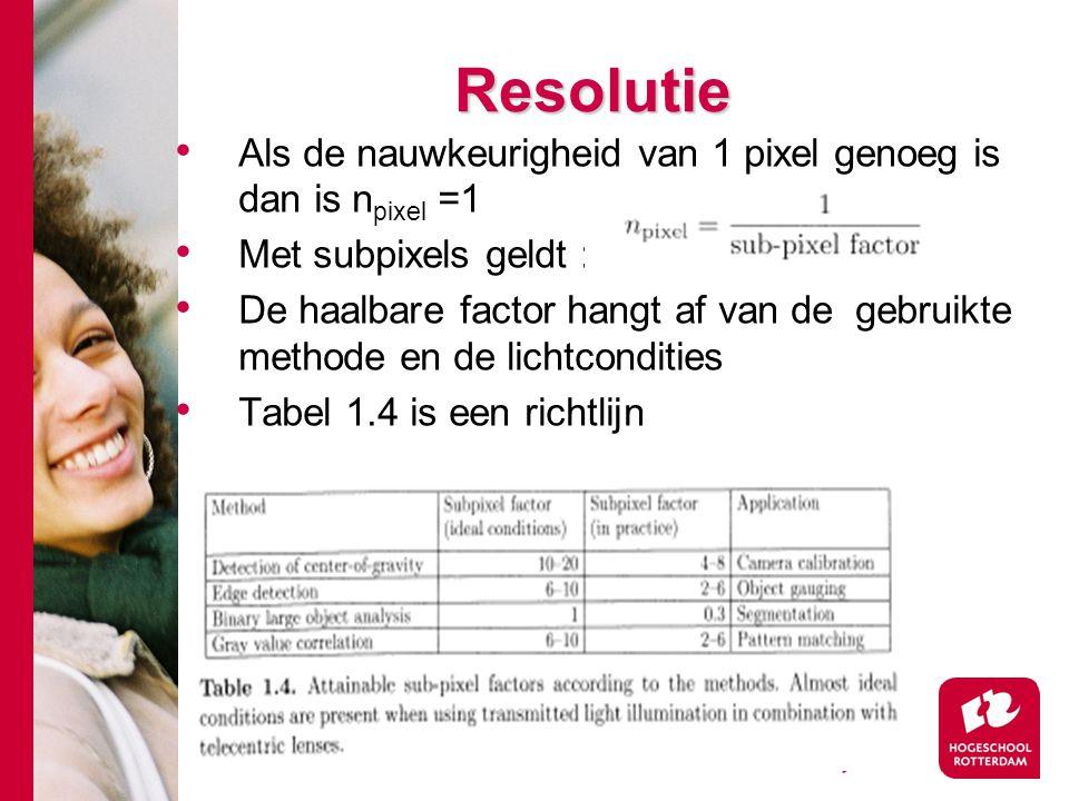 # Resolutie Als de nauwkeurigheid van 1 pixel genoeg is dan is n pixel =1 Met subpixels geldt : De haalbare factor hangt af van de gebruikte methode en de lichtcondities Tabel 1.4 is een richtlijn