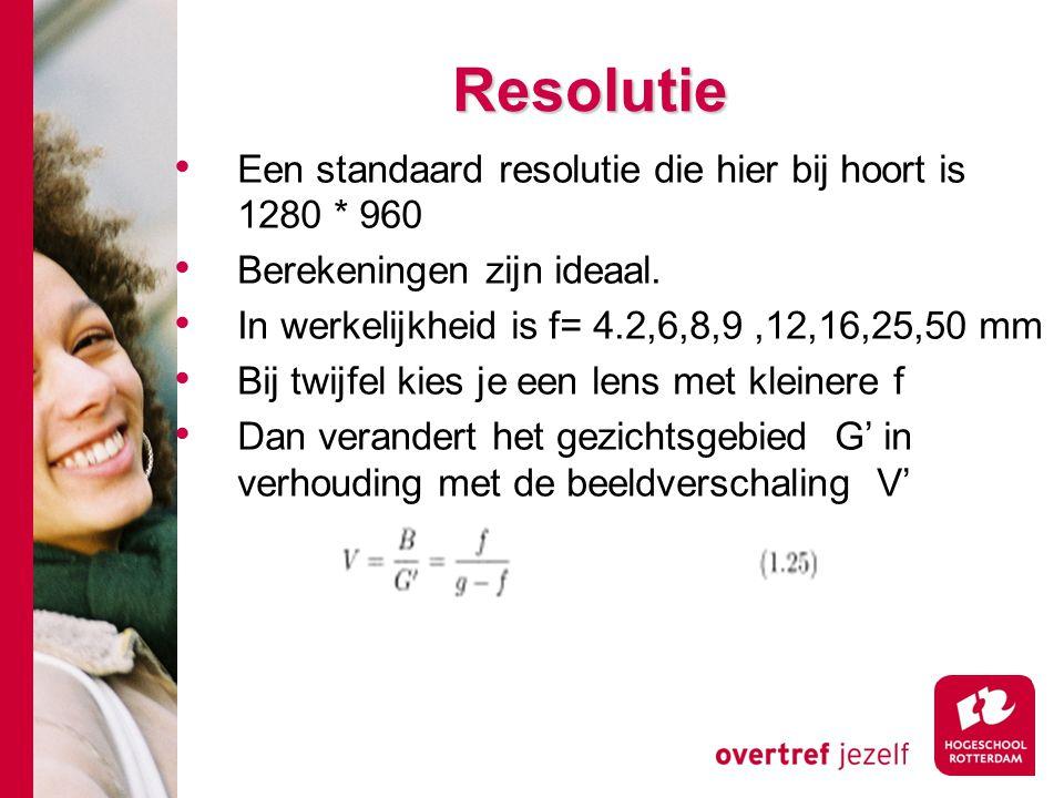 # Resolutie Een standaard resolutie die hier bij hoort is 1280 * 960 Berekeningen zijn ideaal.