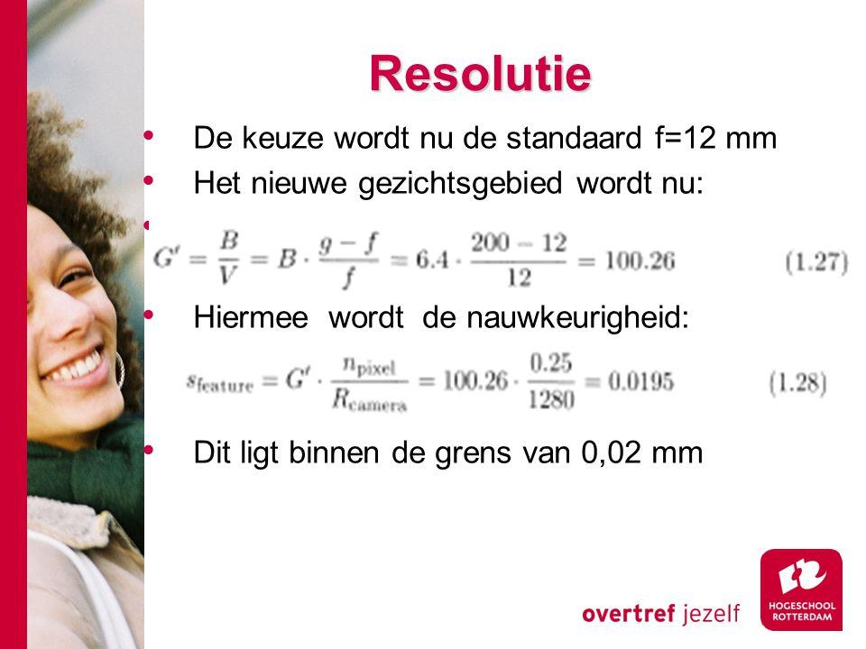 # Resolutie De keuze wordt nu de standaard f=12 mm Het nieuwe gezichtsgebied wordt nu: Hiermee wordt de nauwkeurigheid: Dit ligt binnen de grens van 0,02 mm