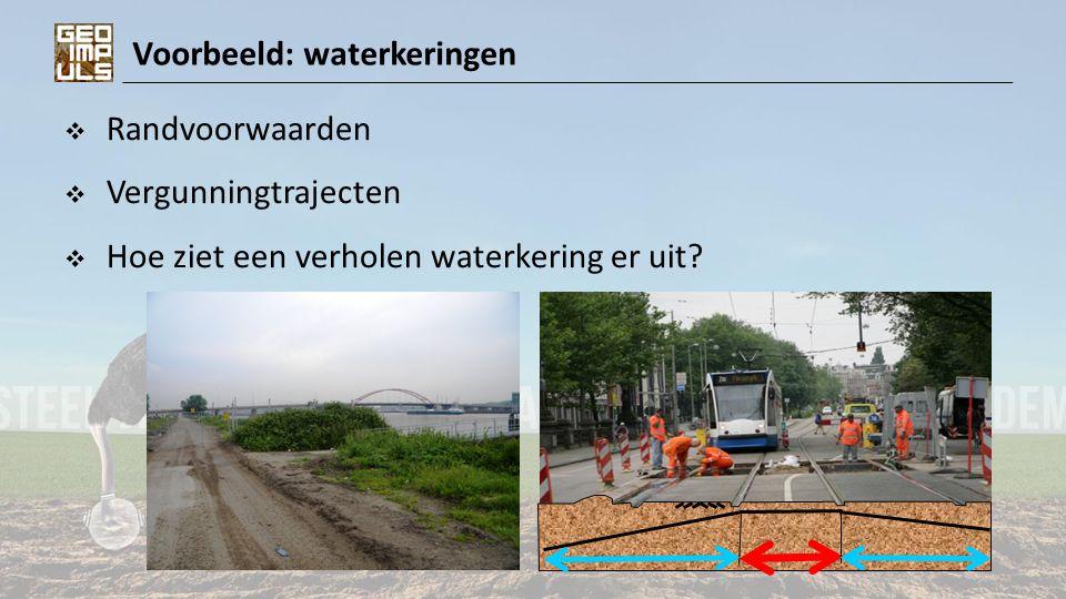 Voorbeeld: obstakels  Archeologie  Explosieven  Oude funderingen, kademuren,..