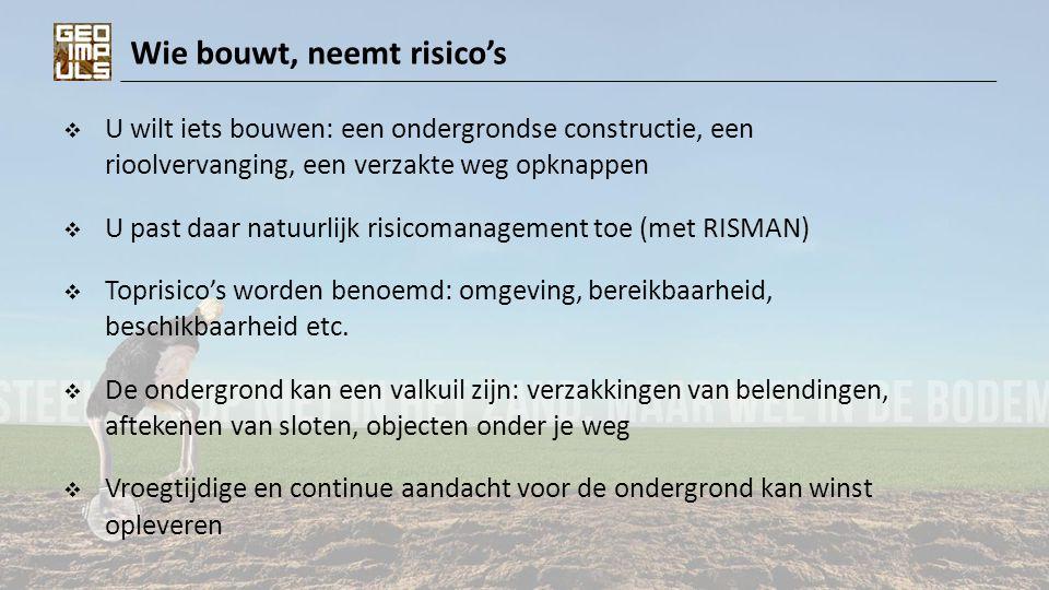 Wie bouwt, neemt risico's  U wilt iets bouwen: een ondergrondse constructie, een rioolvervanging, een verzakte weg opknappen  U past daar natuurlijk risicomanagement toe (met RISMAN)  Toprisico's worden benoemd: omgeving, bereikbaarheid, beschikbaarheid etc.