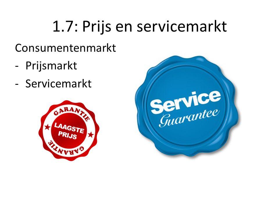 1.7: Prijs en servicemarkt Consumentenmarkt -Prijsmarkt -Servicemarkt