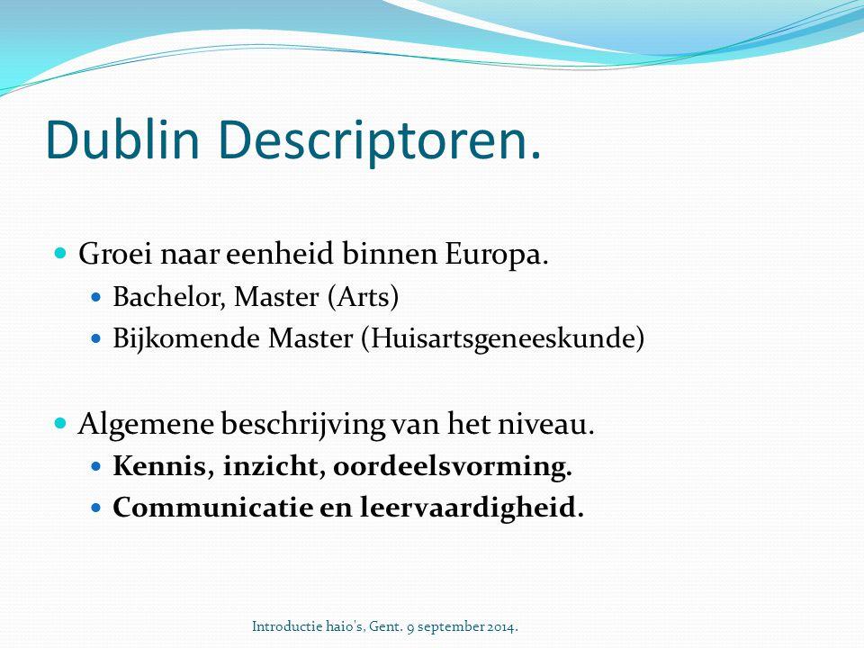 Dublin Descriptoren. Groei naar eenheid binnen Europa. Bachelor, Master (Arts) Bijkomende Master (Huisartsgeneeskunde) Algemene beschrijving van het n