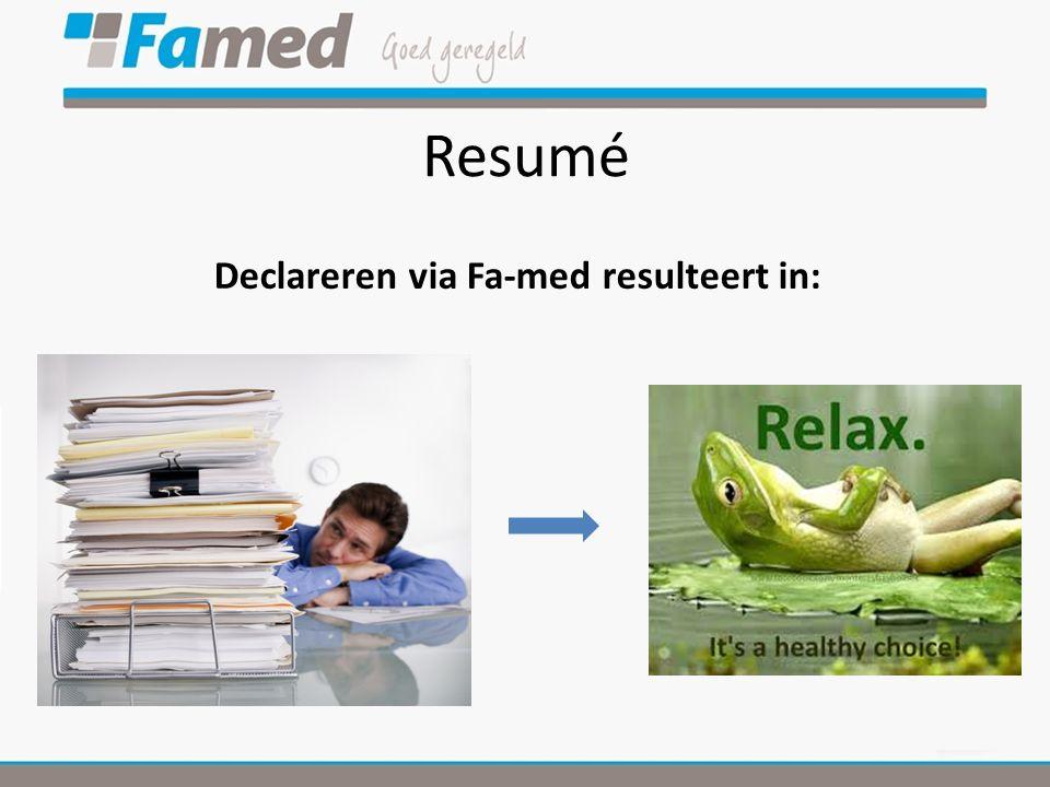 Resumé Declareren via Fa-med resulteert in: