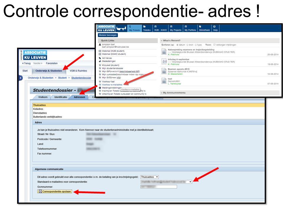 Controle correspondentie- adres !