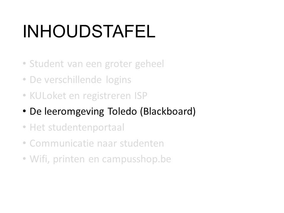 INHOUDSTAFEL Student van een groter geheel De verschillende logins KULoket en registreren ISP De leeromgeving Toledo (Blackboard) Het studentenportaal Communicatie naar studenten Wifi, printen en campusshop.be