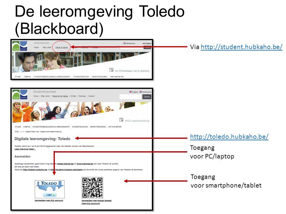 De leeromgeving Toledo (Blackboard) Toegang voor PC/laptop Toegang voor smartphone/tablet Via http://student.hubkaho.be/http://student.hubkaho.be/ http://toledo.hubkaho.be/
