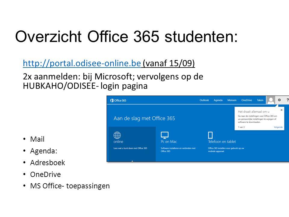 Overzicht Office 365 studenten: http://portal.odisee-online.behttp://portal.odisee-online.be (vanaf 15/09) 2x aanmelden: bij Microsoft; vervolgens op de HUBKAHO/ODISEE- login pagina Mail Agenda: Adresboek OneDrive MS Office- toepassingen