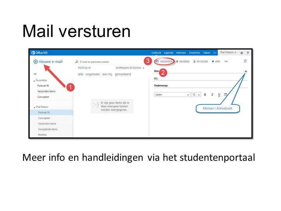 Mail versturen Meer info en handleidingen via het studentenportaal
