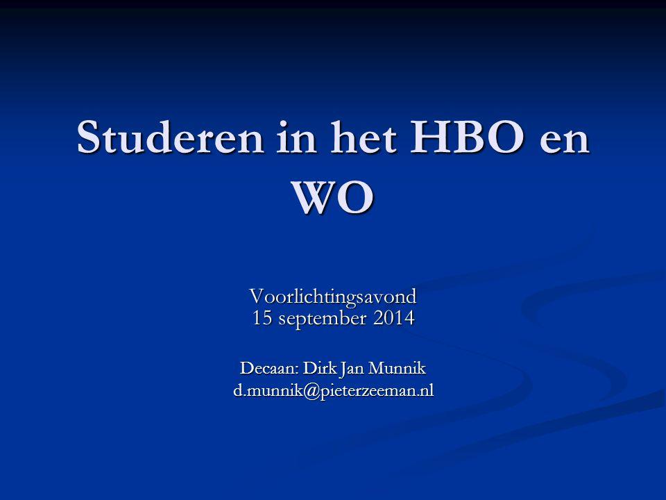 Studeren in het HBO en WO Voorlichtingsavond 15 september 2014 Decaan: Dirk Jan Munnik d.munnik@pieterzeeman.nl