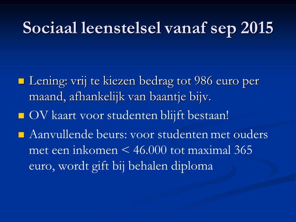 Sociaal leenstelsel vanaf sep 2015 Lening: vrij te kiezen bedrag tot 986 euro per maand, afhankelijk van baantje bijv.