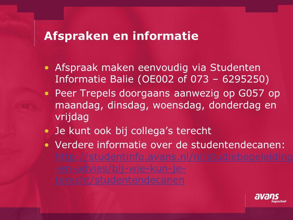 Afspraken en informatie Afspraak maken eenvoudig via Studenten Informatie Balie (OE002 of 073 – 6295250) Peer Trepels doorgaans aanwezig op G057 op ma