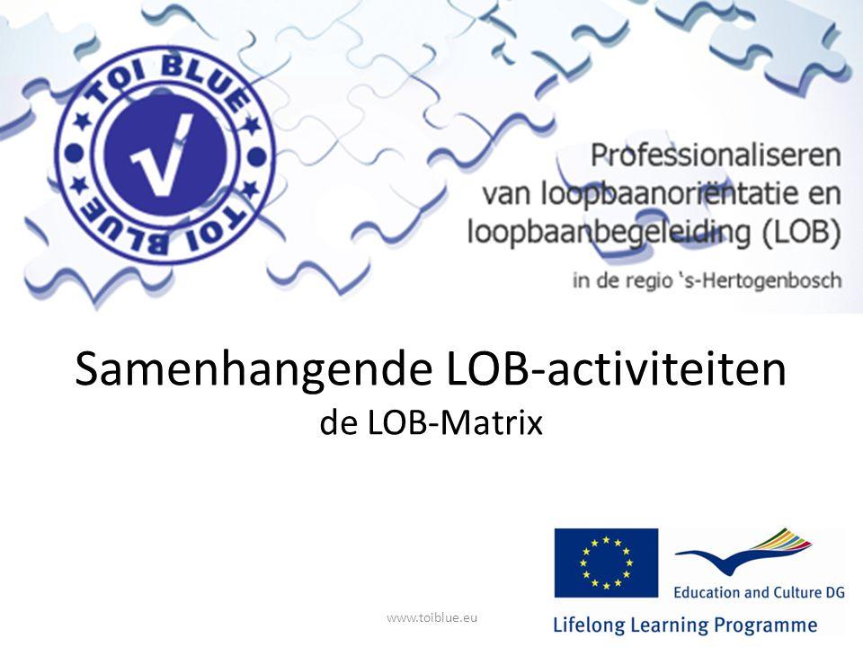 Programma Wat is de LOB-Matrix Doel van de LOB-matrix Inhoud van de LOB-matrix Voorbeelden van activiteiten Ervaringen van scholen www.toiblue.eu