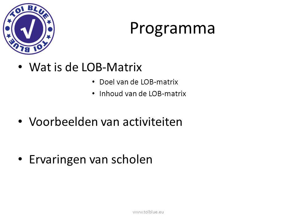 DOEL LOB-Matrix Inventarisatie van huidige LOB activiteiten binnen een opleiding Totaal overzicht van activiteiten in relatie tot categorieën Welke ontwikkelpunten signaleer je.