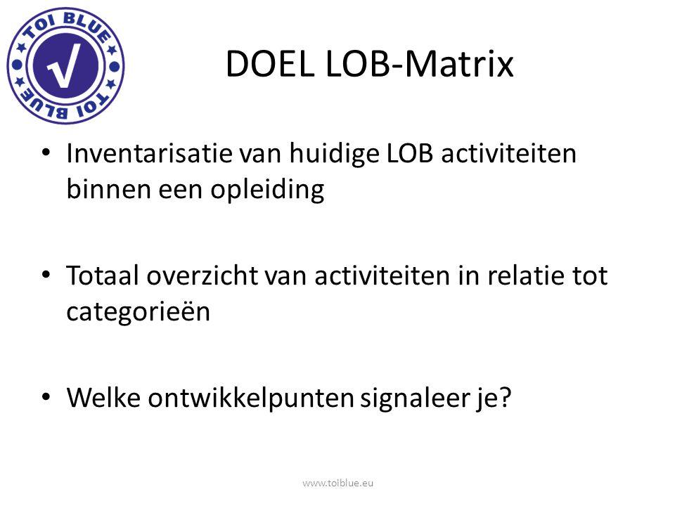 DOEL LOB-Matrix Inventarisatie van huidige LOB activiteiten binnen een opleiding Totaal overzicht van activiteiten in relatie tot categorieën Welke on