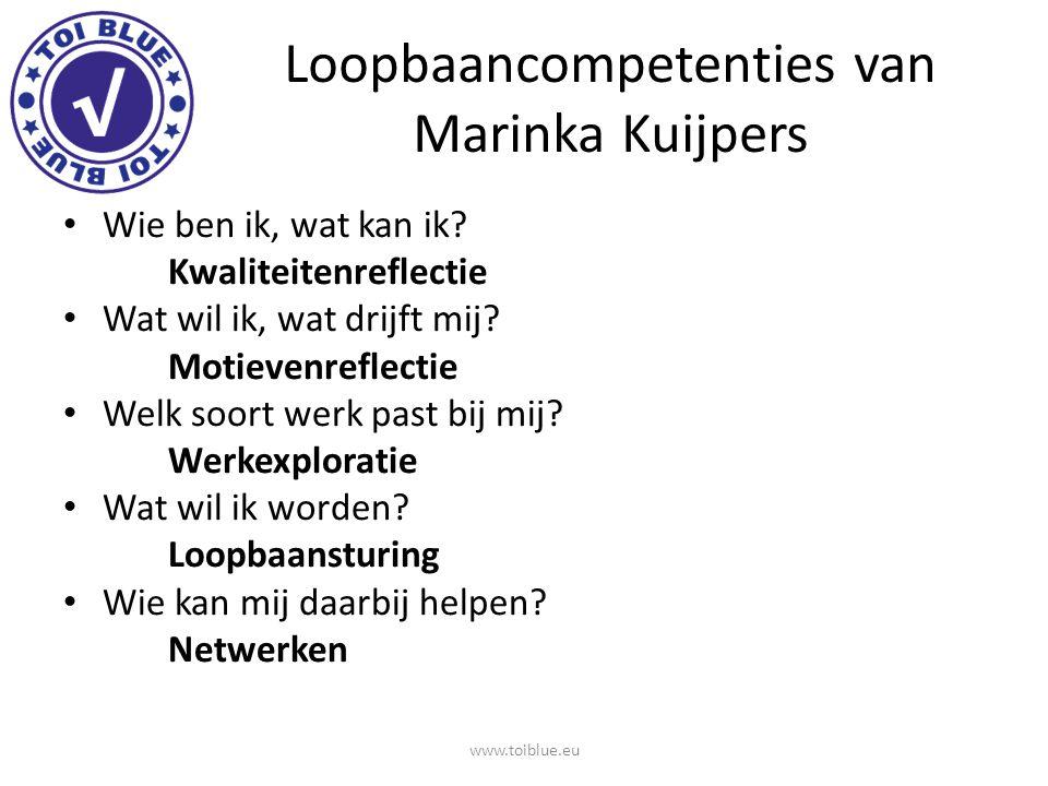 Loopbaancompetenties van Marinka Kuijpers Wie ben ik, wat kan ik? Kwaliteitenreflectie Wat wil ik, wat drijft mij? Motievenreflectie Welk soort werk p