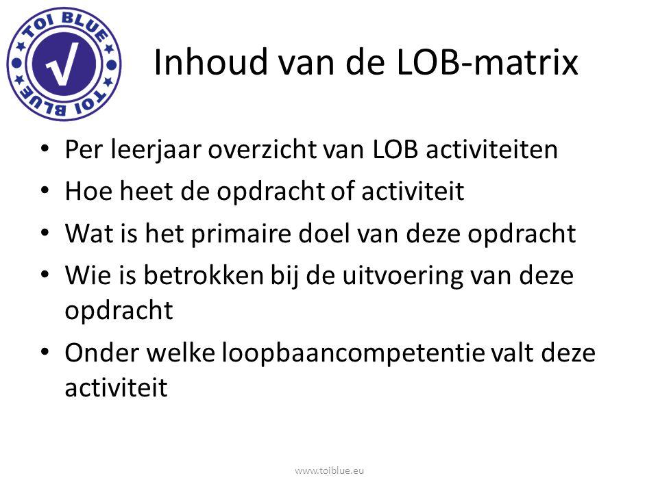 Inhoud van de LOB-matrix Per leerjaar overzicht van LOB activiteiten Hoe heet de opdracht of activiteit Wat is het primaire doel van deze opdracht Wie