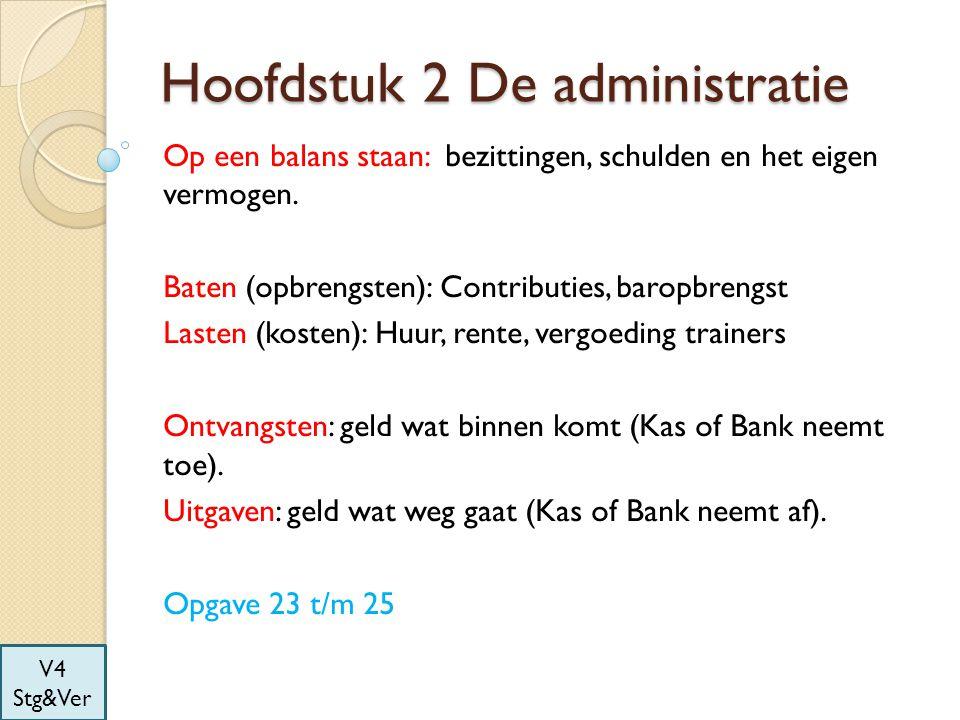 Hoofdstuk 2 De administratie Op een balans staan: bezittingen, schulden en het eigen vermogen. Baten (opbrengsten): Contributies, baropbrengst Lasten