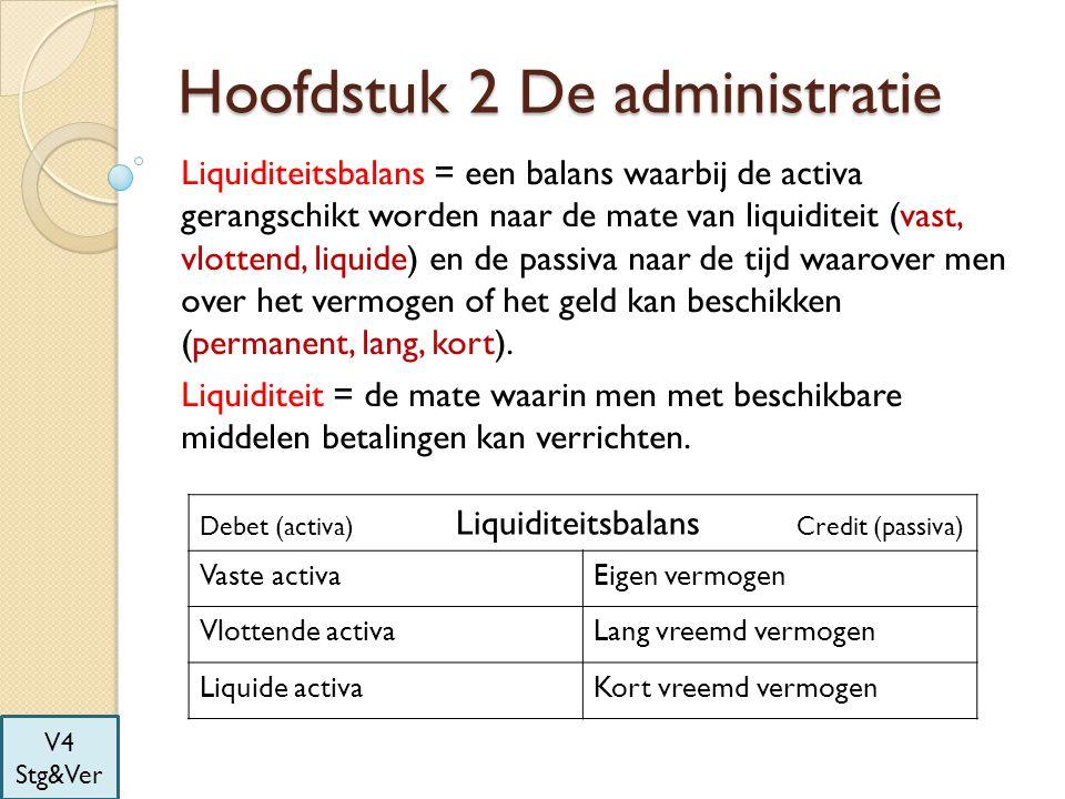 Hoofdstuk 2 De administratie Liquiditeitsbalans = een balans waarbij de activa gerangschikt worden naar de mate van liquiditeit (vast, vlottend, liqui