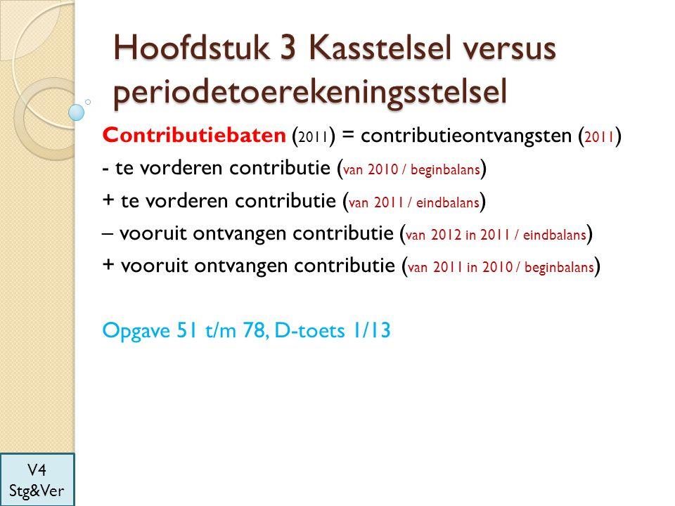 Hoofdstuk 3 Kasstelsel versus periodetoerekeningsstelsel Contributiebaten ( 2011 ) = contributieontvangsten ( 2011 ) - te vorderen contributie ( van 2