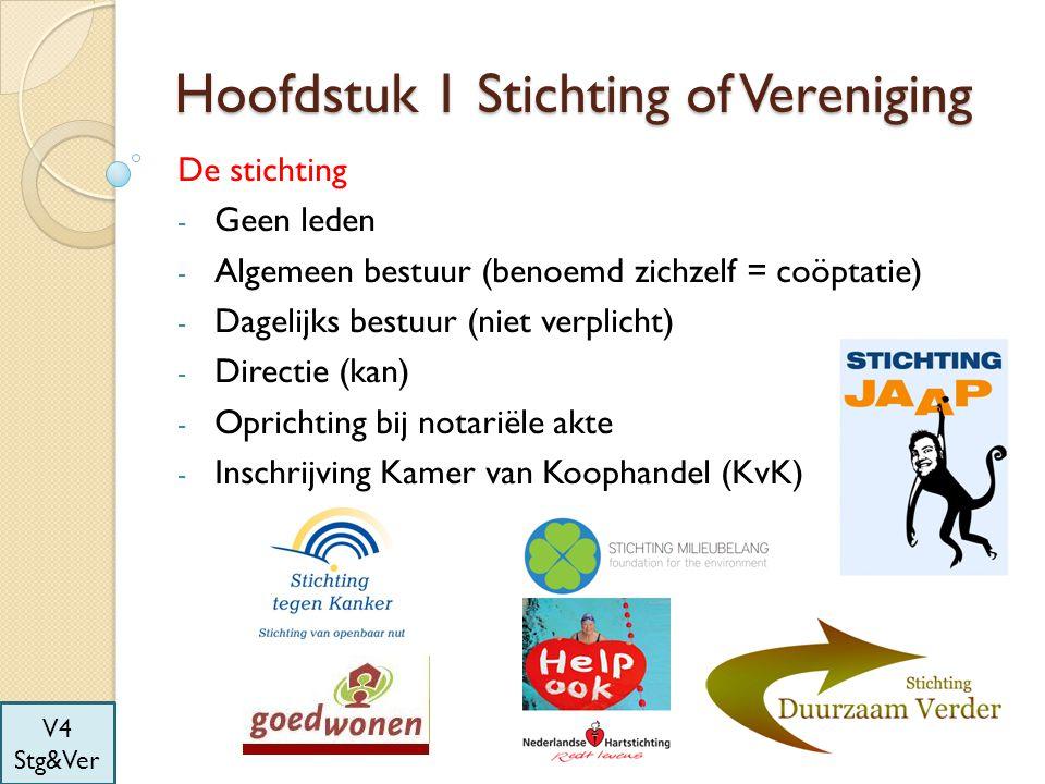 Hoofdstuk 1 Stichting of Vereniging De stichting - Geen leden - Algemeen bestuur (benoemd zichzelf = coöptatie) - Dagelijks bestuur (niet verplicht) -