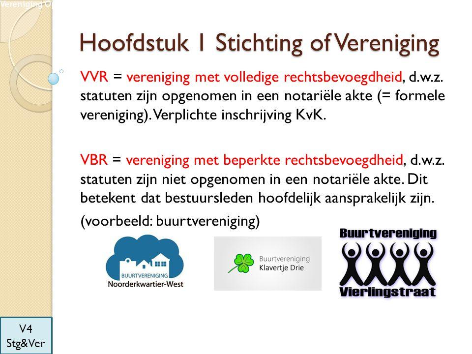 Hoofdstuk 1 Stichting of Vereniging Statuten = grondregels van de stichting of vereniging.