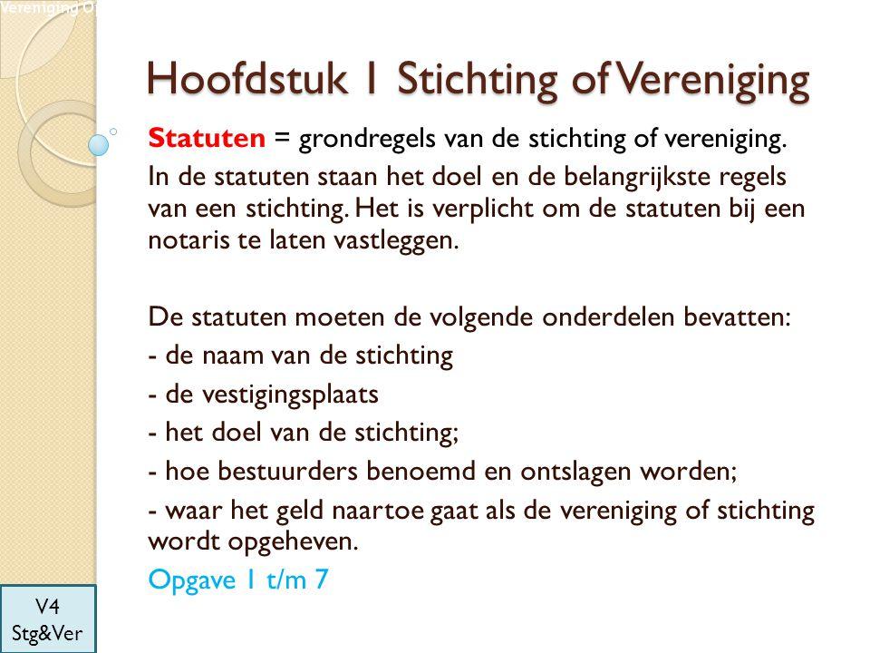 Hoofdstuk 1 Stichting of Vereniging Statuten = grondregels van de stichting of vereniging. In de statuten staan het doel en de belangrijkste regels va