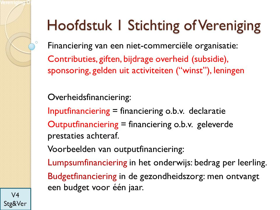 Hoofdstuk 1 Stichting of Vereniging Financiering van een niet-commerciële organisatie: Contributies, giften, bijdrage overheid (subsidie), sponsoring,