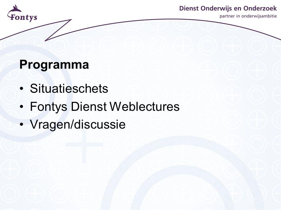 Programma Situatieschets Fontys Dienst Weblectures Vragen/discussie