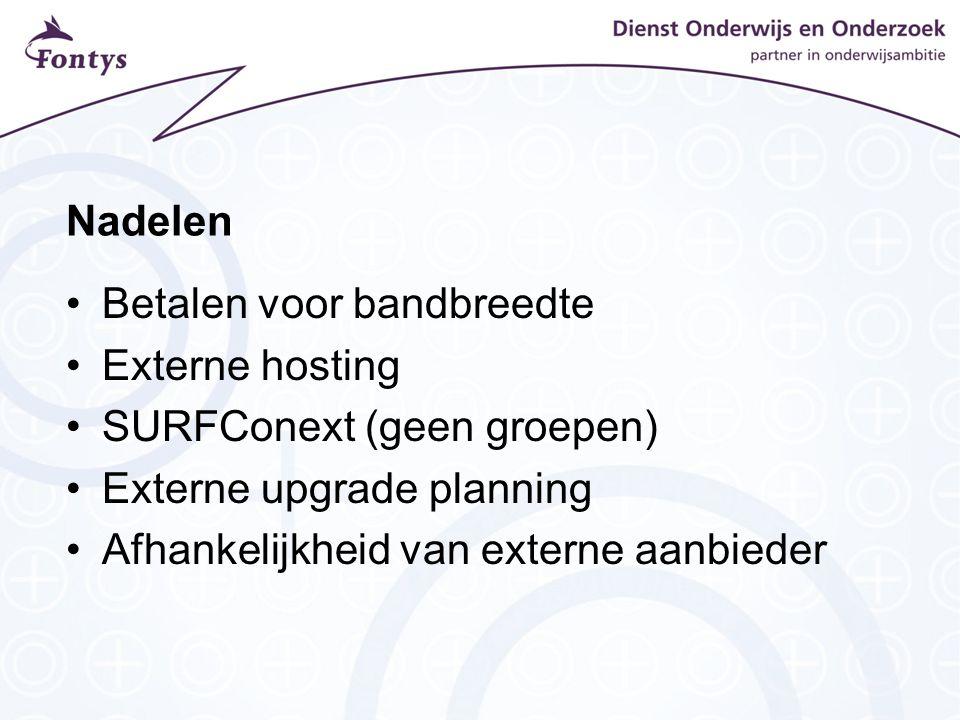 Nadelen Betalen voor bandbreedte Externe hosting SURFConext (geen groepen) Externe upgrade planning Afhankelijkheid van externe aanbieder
