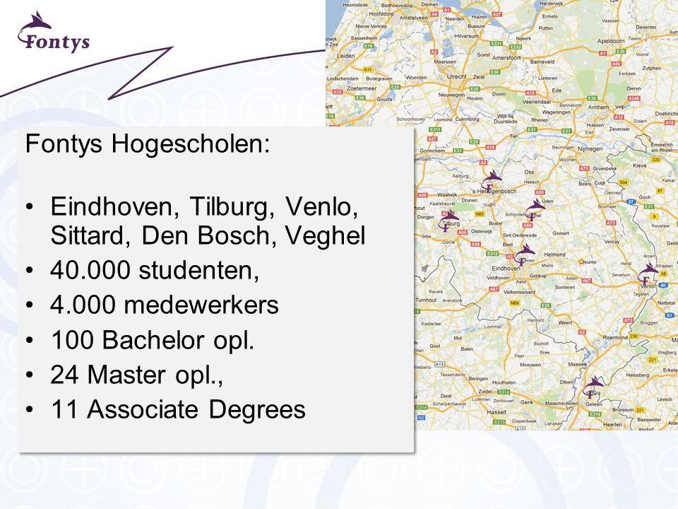 Fontys Hogescholen: Eindhoven, Tilburg, Venlo, Sittard, Den Bosch, Veghel 40.000 studenten, 4.000 medewerkers 100 Bachelor opl.