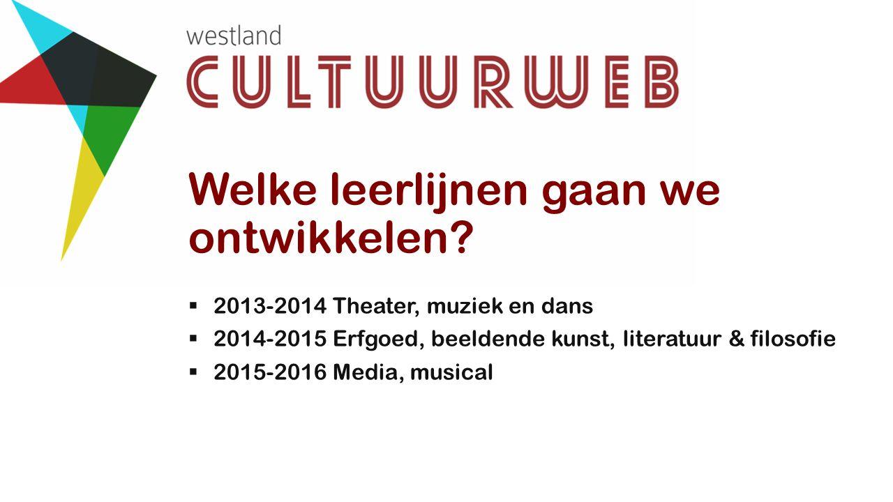 Welke leerlijnen gaan we ontwikkelen?  2013-2014 Theater, muziek en dans  2014-2015 Erfgoed, beeldende kunst, literatuur & filosofie  2015-2016 Med