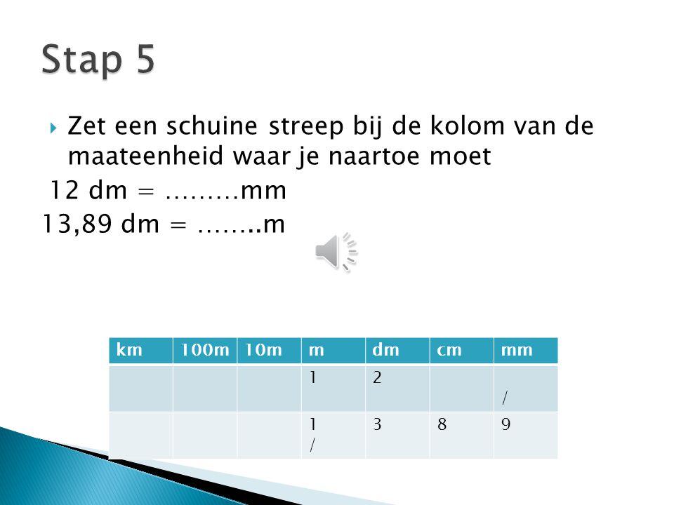  Vul de rest van de kolommen aan met de andere cijfers  1 cijfer per kolom  Nooit geen komma's plaatsen in een tabel km100m10mmdmcmmm 12 1389