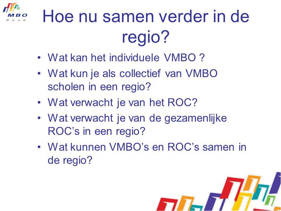 Hoe nu samen verder in de regio? Wat kan het individuele VMBO ? Wat kun je als collectief van VMBO scholen in een regio? Wat verwacht je van het ROC?